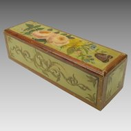 Antique American paint decorated oak slide top box