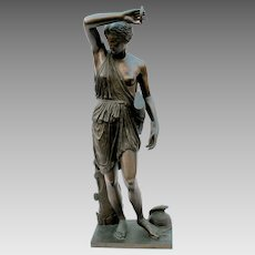 """Antique F. Barbedienne bronze statue of Diana  24"""" tall 1810-1892"""