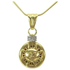 Vintage 18k gold & diamond Sun face and Man in the moon pendant 14k gold chain