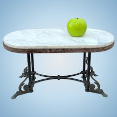 Antique bronze and marble miniature table for a Doll