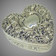 Large antique Gorham sterling silver repousse Heart dresser box