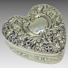 Large antique Gorham sterling silver repousse Heart dresser box