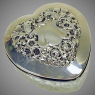 Antique Gorham sterling silver and cut glass heart shaped dresser box