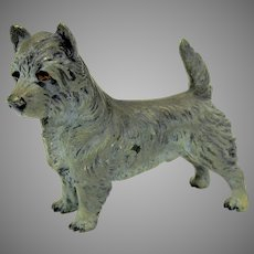 Antique cold painted bronze Cairn terrier dog figure