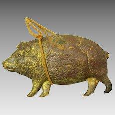 Antique German Dresden paper Christmas ornament Pig