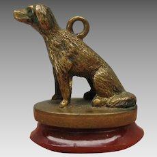 Victorian figural bronze watch fob chain Dog wax seal