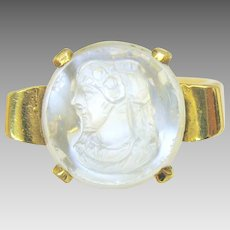 Antique 14k gold & carved moonstone cameo portrait ring size 6.5