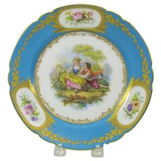 Antique French hand painted porcelain cabinet plate Couple in garden