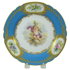 Antique French hand painted porcelain cabinet plate Cherub on garland
