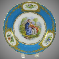 Antique French hand painted porcelain cabinet plate 2 Women reading