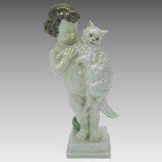 Vintage Rosenthal porcelain figure young boy holding cat