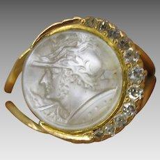 Victorian 14k gold carved moonstone cameo Roman God diamond crescent moon