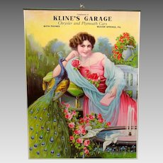 1900s Chrysler Plymouth garage pin up hanging poster Lady with peacock