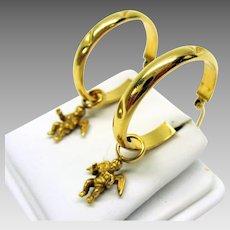 Pair vintage 14k gold cherub dangles for hoop earrings