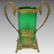 Large French Empire gilded bronze & green glass center vase