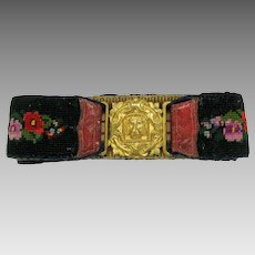 1860's needlework Ladies belt with ormolu Dog head buckle