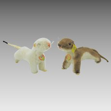 Vintage Steiff Wiggy and Waggy weasels ermine toy pair