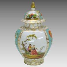 """Antique AR Dresden hand painted porcelain ginger jar urn 11 1/4"""""""
