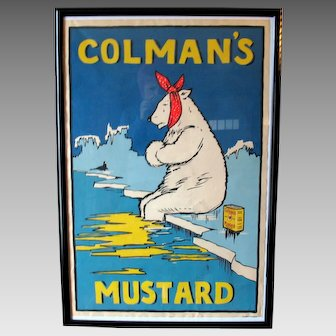Vintage Coleman's Mustard advertising poster with Polar Bear