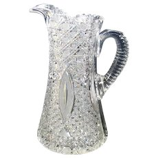 Intricate American Brilliant Period cut glass pitcher