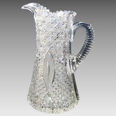 Intricate American Brilliant Period cut glass pitcher