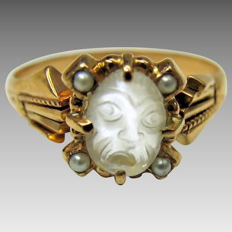 Victorian carved moonstone crying Man in Moon gold ring size 8