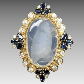 Vintage 14k signed carved moonstone Parrot pendant brooch set with diamonds sapphires