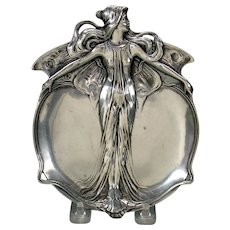Vintage Art Nouveau pewter fairy plate tray by Juventa