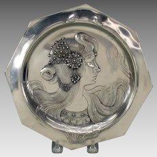 Art Nouveau pewter wall plate Lady with jeweled head dress