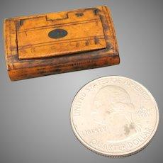 Miniature 1800's Georgian burl wood snuff box