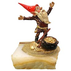 Vintage enamel painted white metal Dwarf Gnome Miner with gold figure