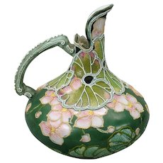 Early Nippon porcelain moriage pitcher or ewer beautifully decorated