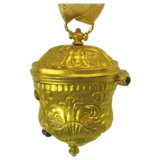 19th Century gilt metal ormolu chatelaine thimble holder
