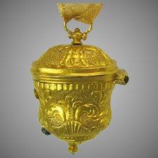 19th Century gilt metal ormolu chatelaine thimble holder