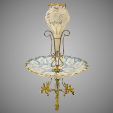19th Century French gilded bronze & decorated glass centerpiece epergne