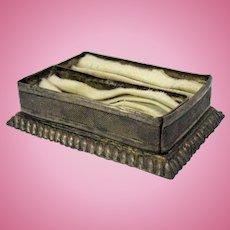 Early dollhouse miniature silvered tin napkin tray with napkins