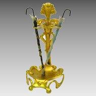 Antique ormolu dollhouse miniature Art Nouveau umbrella stand