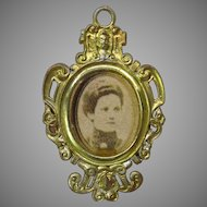 Vintage soft metal doll house miniature portrait picture frame 1:12 scale