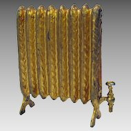 Antique dollhouse miniature soft metal gilded freestanding radiator #2