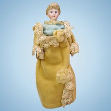 """All original antique German bisque dolls house doll Lady in yellow velvet 5 1/2"""""""