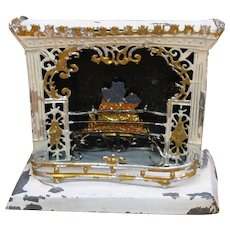 Antique painted soft metal dolls house miniature fireplace with tools