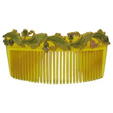 Fine antique painted ormolu French Fashion doll hair ornament comb accessory