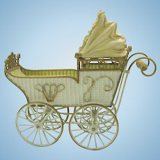 Large antique Marklin tin toy doll baby carriage