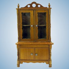 Fine quality antique doll house miniature tall kitchen hutch cupboard