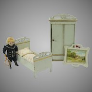 Antique 3 piece painted doll house miniature bedroom set bed, wardrobe picture