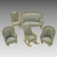 Antique doll house miniature blue salon set 5 pieces Couch chairs