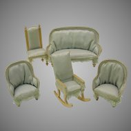 Antique doll house miniature blue salon set 5 pieces Couch chairs