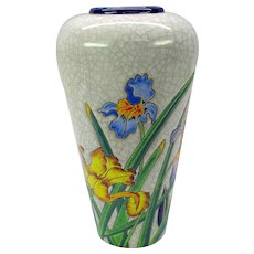 Vintage Longwy French enameled pottery Decor Galea Iris vase