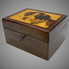 1900's Cigar Humidor box with marquetry type Hunting dog portrait