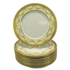 Set 12 Vintage Lenox porcelain gilded decorated dinner plates garlands of flowers